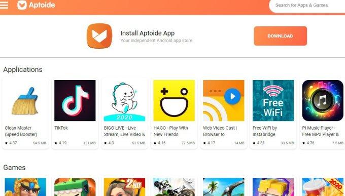 Aptoide website