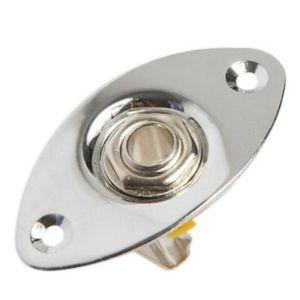 Guitar Jack plate oval football 1/4′ chrome + Jack input
