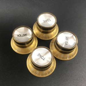 (4) Bell volume tone knobs gold with chrome