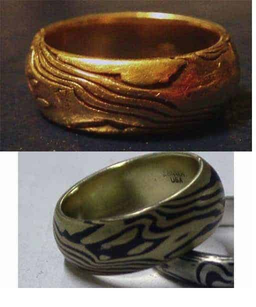 Top photo after about 18 months of wear. Bottom photo the same ring when it was brand new.