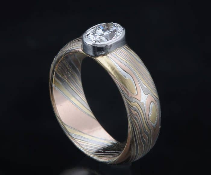 oval diamond mokume ring