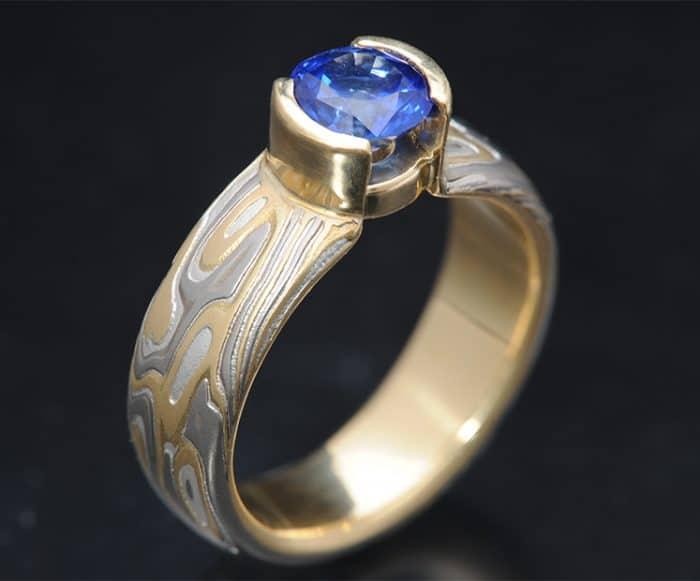 sapphire mokume engagement ring