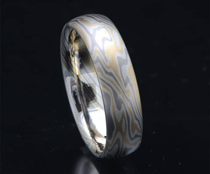 yellow and white gold non-etched wedding ring