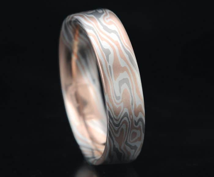 red gold mokume flat wedding band
