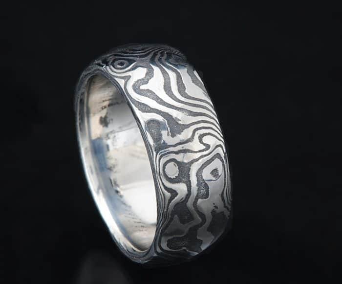 mens black Damascus wedding ring