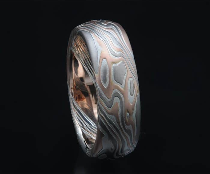 etched red gold mokume ring