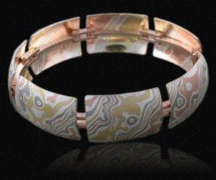 unique mokume link bracelet