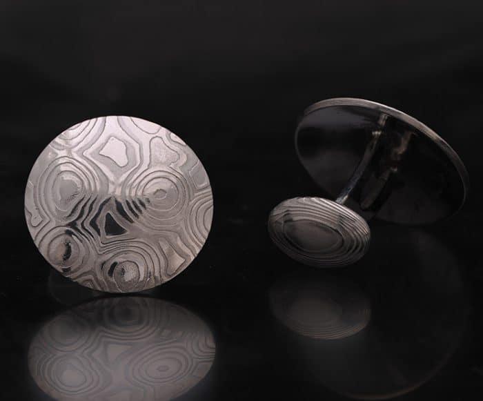 damascus steel cufflinks