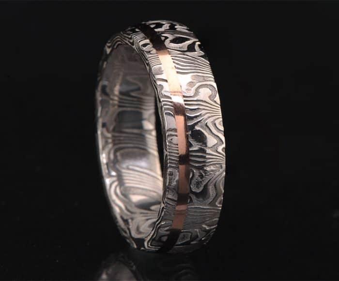 mens Damascus wedding ring