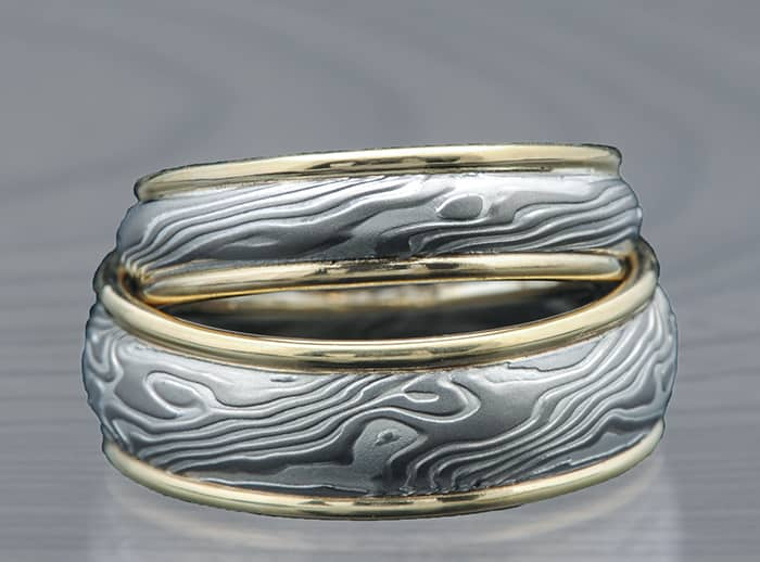 palladium gold mokume wedding ring