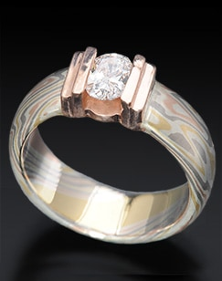 diamond mokume engagement ring