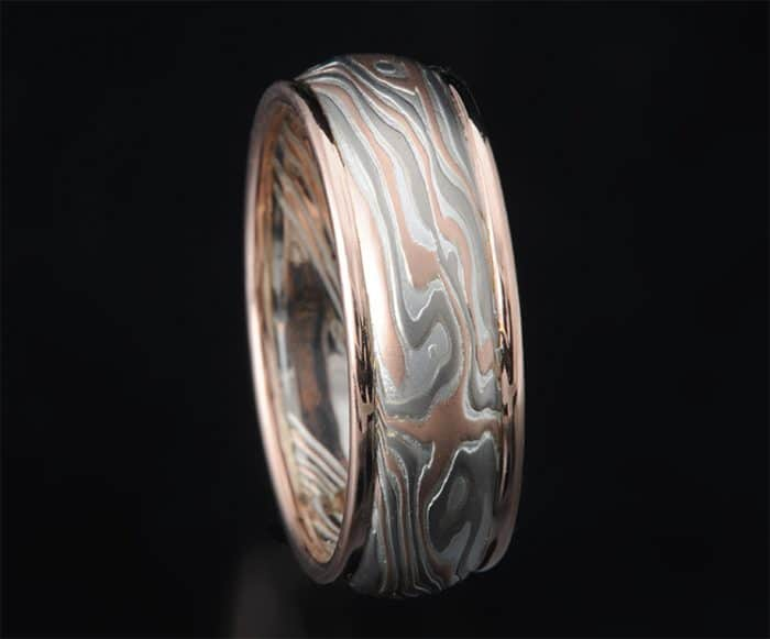 red gold mokume ring with rails