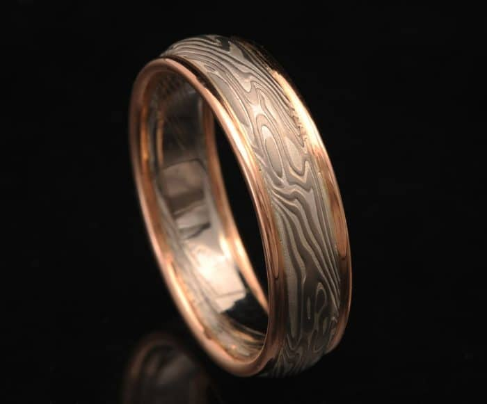 palladium and red gold ring