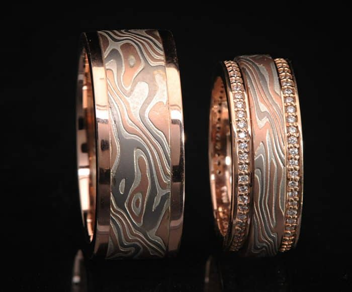 RED GOLD AND DIAMOND WEDDING BAND SET