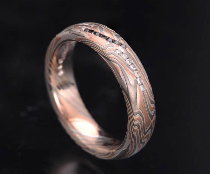 black and white diamond mokume ring