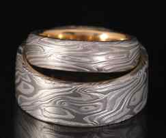 CUSTOM MOKUME WHITE METALS WEDDING RINGS