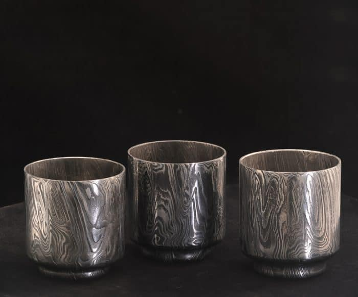 damascus steel sake cups