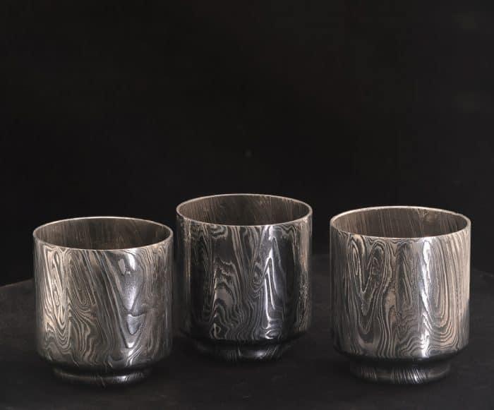 damascus steel sake cups