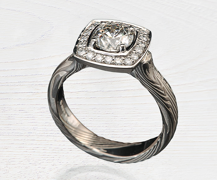 halo diamond moissanite ring
