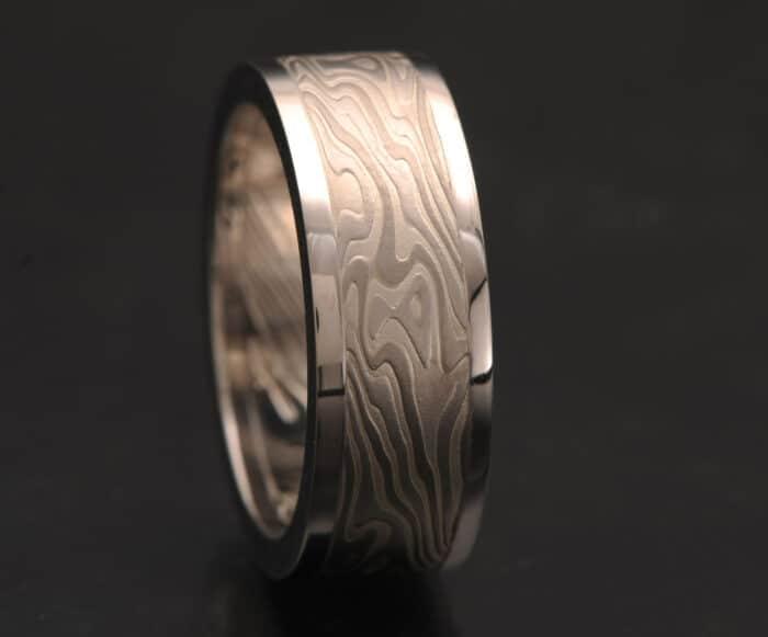 white metals mokume wedding