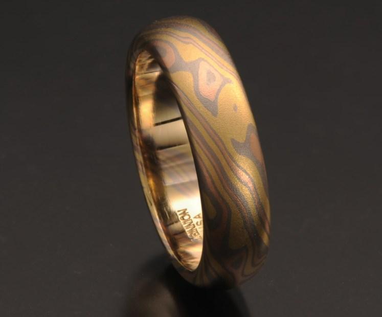 all gold mokume ring