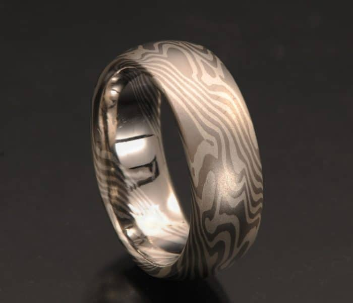 Non-etched palladium wedding band