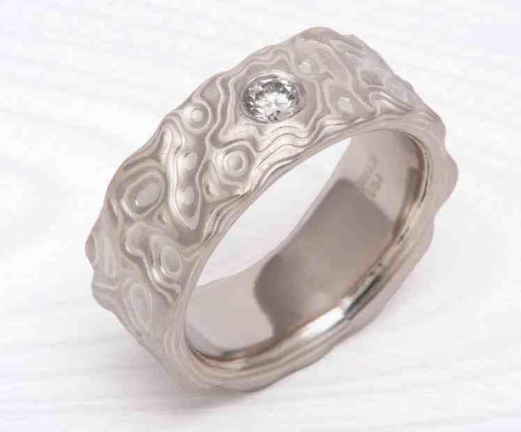 carved platinum mokume ring