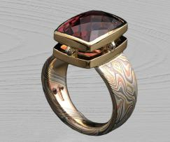 mokume custom tourmaline ring