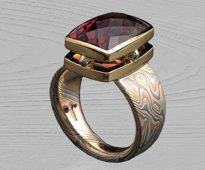 mokume custom tourmaline ring