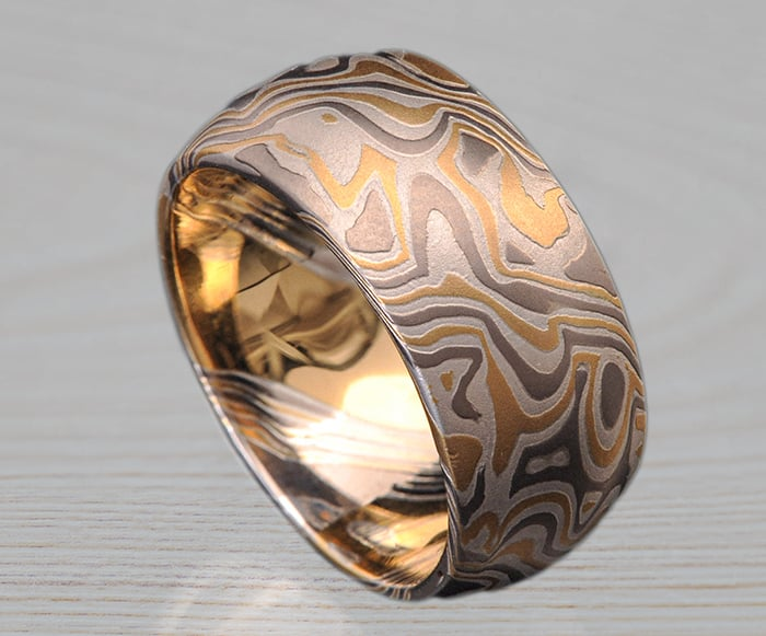 wide yellow white mokume band