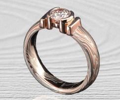 DIAMOND MOKUME ENGAGEMENT RING