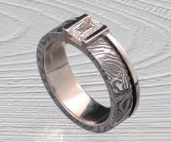 Damascus Stainless Steel-Darkened diamond ring