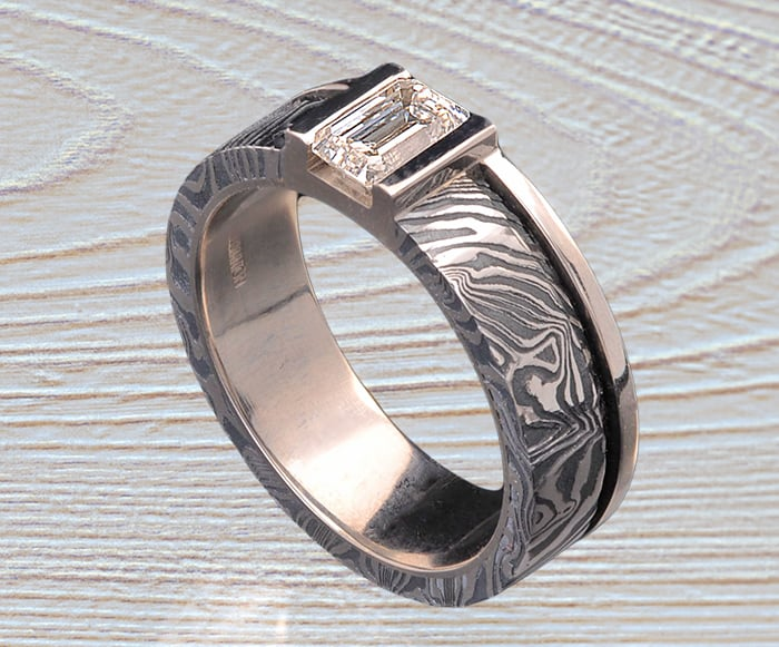 Damascus Stainless Steel-Darkened diamond ring