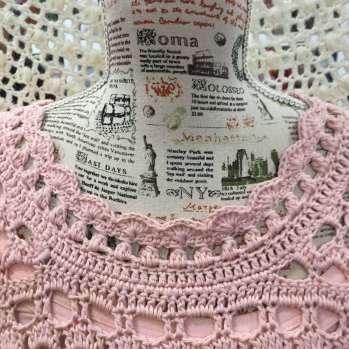 Vestidos de ganchillo romantico en rosa cuello