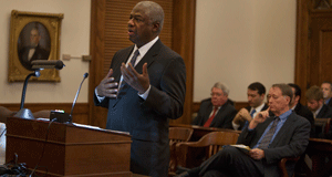 Judge Ronnie White presents his defense of Judge Barbara Peebles in her disciplinary case before the Missouri Supreme Court Thursday.  Photo By: KAREN ELSHOUT