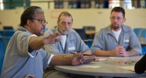 Missouri Eastern Correctional Center inmates(l-r) Jacob Meeks, Tommy Yarberry and Thomas Lebon talk about their problems with the public defender system representing them in their legal defense.  Photo By: KAREN ELSHOUT