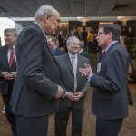 Lawyer of the Year honorees Saint Louis University School of Law Dean Michael Wolff and Missouri Senator Kurt Schaefer,  with Armstrong Teasdale Partner and former Missouri Supreme Court Justice Ray Price, chat before the luncheon at the Ballpark Hilton.