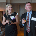"""Women's Justice Award honoree Shelly Rosenfelder laughs with Missouri Supreme Court Judge Zel Fischer. Rosenfelder was recognized by Missouri Lawyers Media as a """"Leader of Tomorrow."""""""