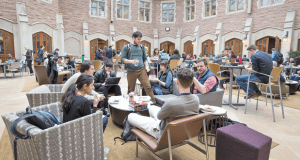 Washington University law school students gather for lunch Jan. 27 in the commons area of the school. The school is experiencing an increase in student applications, bucking a national trend.