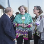 Missouri Supreme Court Justice Richard Teitelman meets 2015 WJA Legal Scholar honoree Nancy Allen, second from right, along with Allen's sister Susan Appelquist outside on the patio at the Four Seasons Hotel in St. Louis Thursday night.  Former Woman of the Year, Doreen Dodson, on right, made the introductions.