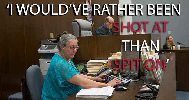 """St. Louis County Court Clerk Stephanie Cook attends to her work in Judge Steven Goldman's courtroom Wednesday morning.  On September 15, 2011, Cook was surprised and shocked when a defendant spit on her on his way out of the courtroom after being convicted of 2nd degree murder of an infant.  Cook said her reaction was, """"Did he just spit on me?"""" too shocked to do anything else.   KAREN ELSHOUT/photo"""