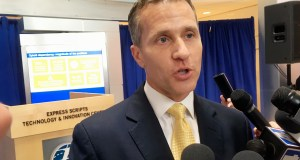 Missouri Gov. Eric Greitens speaks to reporters in St. Louis in this file photo. AP Photo by Jim Salter