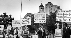Kay Tobin Lahusen, right, and other demonstrators carry signs calling for protection of homosexuals from discrimination as they march in a picket line July 4, 1967 in front of Independence Hall in Philadelphia. In 2019, same-sex marriage is the law of the land in the U.S. and at least 25 other countries. LGBT Americans serve as governors, big-city mayors and members of Congress, and one _ Pete Buttigieg _ is waging a spirited campaign for president. AP Photo by John F. Urwiller