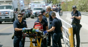 El Paso Fire Medical personnel arrive at the scene of a shooting at a Walmart near the Cielo Vista Mall in El Paso, Texas. The FBI has labeled two of those attacks, at the Texas Walmart and California food festival, as domestic terrorism — acts meant to intimidate or coerce a civilian population and affect government policy. But the bureau hasn't gone that far with a shooting at an Ohio entertainment district. Photo by Mark Lambie of The El Paso Times via AP