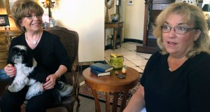 """Terrie Dietrich, left, and her daughter Erin Cross, talk in Dietrich's home in Henderson, Nev., Thursday, Aug. 22, 2019. """"Medicare for All"""" remains hugely popular, but majorities say they'd prefer building on """"Obamacare"""" to expand coverage instead of a new government program that replaces America's mix of private and public insurance. (AP Photo/Michelle L. Price)"""