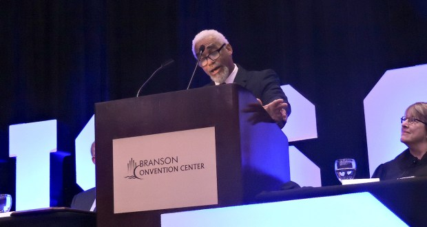 """Missouri Supreme Court Chief Justice George W. Draper III, speaking to The Missouri Bar at their annual meeting on Sept. 19, 2019, in Branson, criticized the """"weaponization"""" of performance evaluations against minority judges. Photo by Jessica Shumaker"""