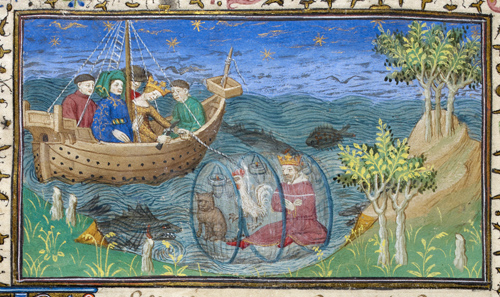 Alexander lowered into the sea