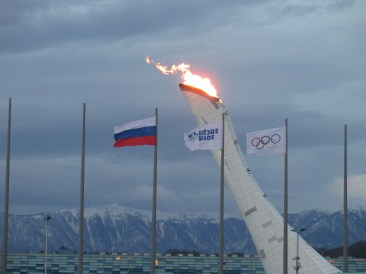 Olympic Flame in twilight