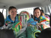 Delivering the Gift Bags for athletes