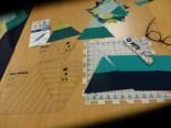 Linjalene og stripesett kuttet og klar til sammensying.